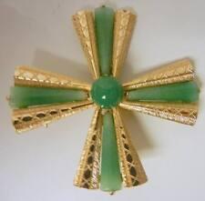 Vintage Kramer of New York Jade Peking Glass Maltese Cross Pin Brooch