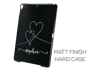 Matt Black Personalised Name with hearts Apple iPad Case Cover Any Name Printed