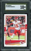 2020 Donruss #1 Patrick Mahomes II Graded SGC 10 PRISTINE GOLD LABEL  > PSA 10!