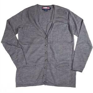 Vineyard Vines Extrafine Merino Wool Gray Knit Button Cardigan Sweater V-Neck M