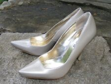 BEBE PUMPS, Shimmery Taupe Patent Leather, Snub Pointy Toe Wrapped Heel, 7M