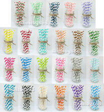 25 50 75 Paper Straws Birthday Wedding Baby Shower Party STRIPPED Free Ship