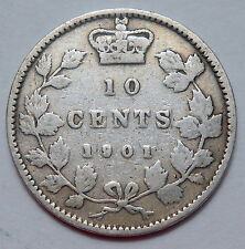 1901 Ten Cents VG+ ** Very Nice LAST Year Queen Victoria OLD Silver Canada Dime