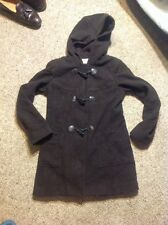 MICHAEL KORS WOOL Blend Small Brown Hooded Toggle DUFFLE PEACOAT COAT JACKET