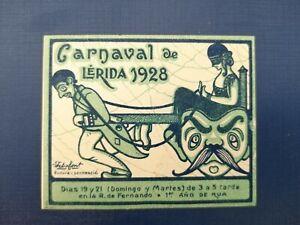 Old Poster Stamp Carnaval de Lerida 1928 Spagna - Erinnofilo Cenerentola