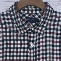 ⭐ Mens Paul Smith Jeans Heavy Flannel Gingham Plaid Check Shirt Size Large