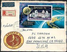 Hungary Apollo 14 Moon Landing Space miniature sheet MS on regd cover to USA