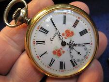 Unitas cal 6445 6431 pocket watch ticking New listing 50mm Arnex gold plated genuine Swiss