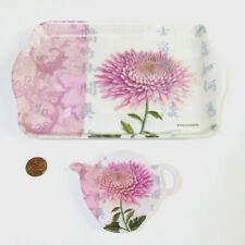 Paula Scaletta TRAY & SPOON REST / BAG HOLDER Teapot Shaped Asian Chrysanthemum