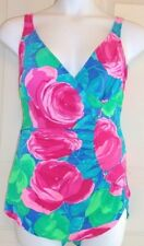 SandCastle sarong front popart floral swimsuit blue pink skirt front vintage 18