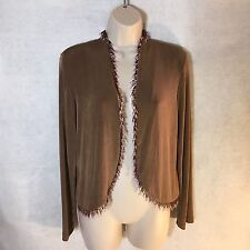 NEW Citiknits Beaded Fringe Brown Bolero Jacket Shrug Sz Small