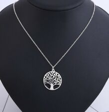 Round Tree of Life Pendant Necklace ~ Silver Colored