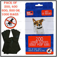 Pet Touch Dog Poo Premium Lemon Scented Poop Bags Extra Strong Tie Handles Tidy