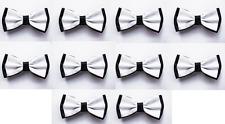 LOT OF 10 White Center Black Back Men's Adjustable Bowties/Bow tie Tuxedo