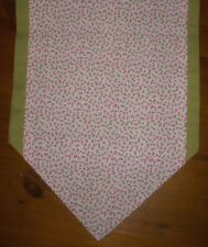 Table Runner Pink & Ivory Floral & Green Lined Sideboard Decoration Gift 110 cm