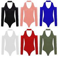 New Women Cold Cut Out shoulder Choker V Neck Plain Bodysuit Stretch Leotard Top