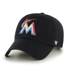Miami Marlins 47 Brand MLB Strapback Adjustable Dad Cap Hat Black Home Clean Up