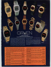 1977 PAPER AD Gruen Solid State Crystal Quartz Wrist Watch LED 6 Function
