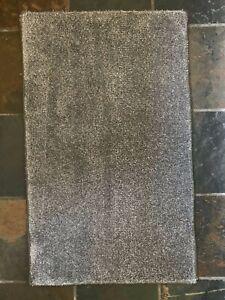 Small Dark Grey Plain Soft Shaggy Non-Shed Rug Mat Kitchen Floor Cheap 60x100 cm