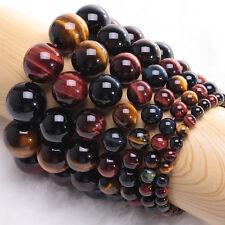 8/10/12/14/16MM Natural Colorful Tiger's Eye Gemstone Beads Stretchy Bracelet