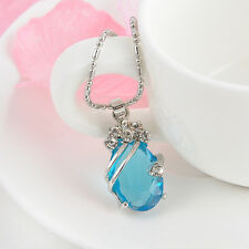 Charming Fashion Women Ladies Solitaire Light Blue Crystal Pendant With Necklace