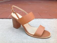 Max Mara Women's Sandals Shoes Size 9 (39) Tan Leather Stappy Heels $495 NEW