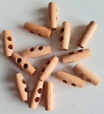 10 X 2 HOLE WOOD HORN TOGGLE BUTTONS LIGHT COFFEE COLOUR APPROX 4 CM X 1.2 CM CM
