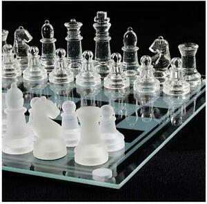 NEW GLASS BOARD TRADITIONAL CHESS SET GAME UNIQUE BEAUTIFUL GIFT 32 PC FUN PARTY
