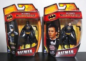 MATTEL DC MULTIVERSE BATMAN 1989 KEATON LOT OF 2 MASKED + UNMASKED VARIANT 3 3/4