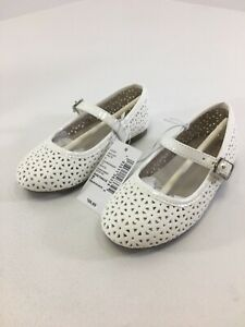 Children's Place Girls Toddler Closed Toe Flats W/ Buckle Strap 7 White NWT