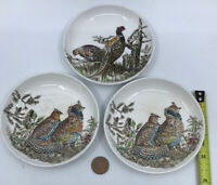 """Johnson Brothers Pheasants Grouse Birds Made in England 4"""" Small Plates Lot of 3"""