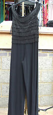 Joseph Ribkoff BNWT UK 10 Exquisite All-in-One Ra-Ra Black Wide Leg Jump-Suit