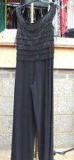 Joseph Ribkoff BNWT UK 10 Exquisite All-in-One Ra-Ra Black Wide Leg Jump-Suit