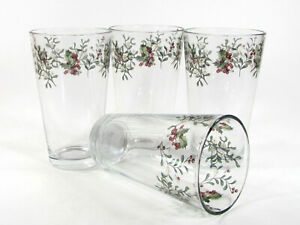 NEW Better Homes & Gardens WINTER FOREST 16oz Glass Tumbler Set 4Pc Heritage