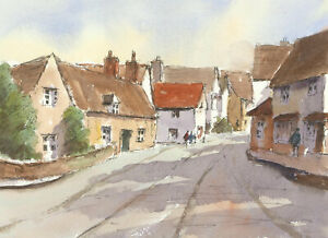 John A. Case - Contemporary Pen and Ink Drawing, Village Street Scene