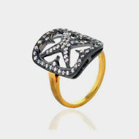 Natural Rose Cut Diamond Pave 18k Gold 925 Sterling Silver Fine Ring Jewelry