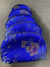 Asian Style Embroidered Makeup Toiletry Bag Set of 5 (smallest = coin purse)