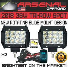 2X 36W 4In LED Pro Pod Cubes Work Light Bar Spot Beam 4x4 Jeep RZR UTV w/Harness