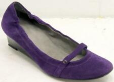 Stuart Weitzman Round Toe Mary Jane Wedges Purple Suede Women's Shoes Sz 7.5 M