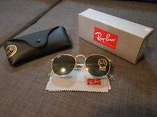New Genuine Ray Ban RB 3447 Gold Metal Round Unisex Sunglasses G-15 Green Lens