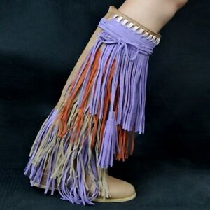 Occident Womens Tassels Wedge Heel Knee High Boots Multi-color Fringed Shoes New