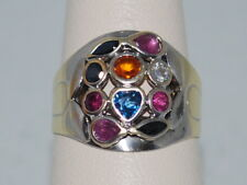14k Yellow & White Gold ring with Many colored Sapphires and beautiful design