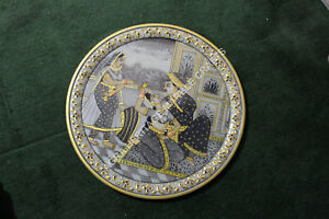 """12"""" Marble Dish Serving Plate Hand Painted Mughal Art Kitchen Gift Decor H5694"""