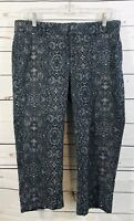 Dockers Womens Crop Pants Sz 10 Capri Denim Short Ladies Blue Paisley Stretch