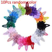 10Pcs Cute Kids Girls Baby Chiffon Toddler Flower Bow Hair Clips Headwear