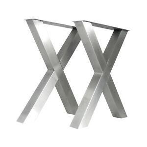 X-Tischbeinset 8080 Edelstahl gebürstet Tischkufen Gartentisch Tisch Rivertable