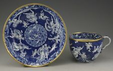 Antique Pottery Pearlware Blue Transfer Spode Love Chase Pattern Cup Saucer 1820
