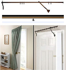 "Door Curtain Pole - Black Rising Portiere Rod 42"" (106cm) Long"
