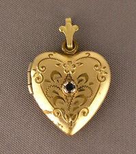 Vintage Gold Filled & Sapphire Heart Locket Pendant - Carol Love Fred 4-14-73