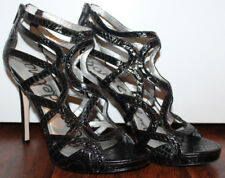 EUC SAM EDELMAN Womens Black Eden Caged Patent Leather 5 Inch Heels ~ Size 9